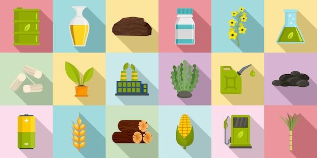 Conjunto de ícones de bio combustível