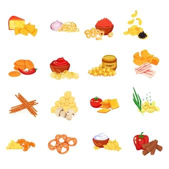 Conjunto de ícones de biscoito biscoito dos desenhos animados