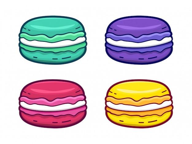 Conjunto de ícones de biscoito colorido isolado no branco