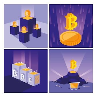 Conjunto de ícones de bitcoin de mineração de criptografia