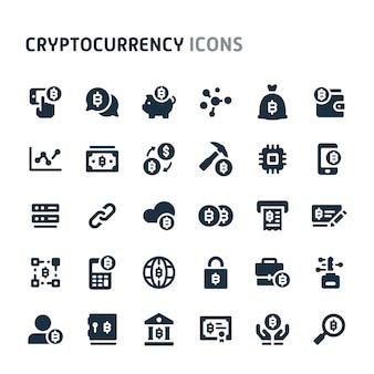 Conjunto de ícones de blockchain e criptomoeda. série de ícone preto fillio.