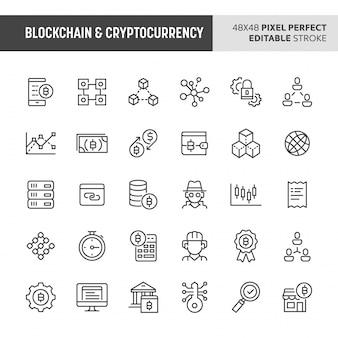 Conjunto de ícones de blockchain e criptomoeda