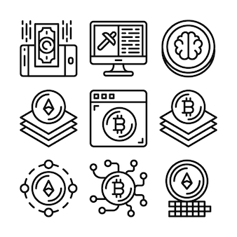 Conjunto de ícones de blockchain
