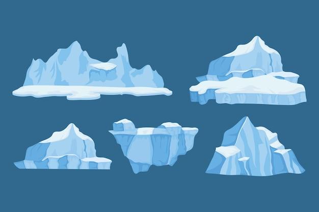 Conjunto de ícones de blocos de icebergs