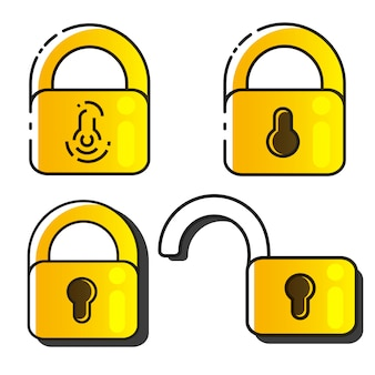 Conjunto de ícones de bloqueio