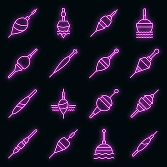 Conjunto de ícones de bobber. conjunto de contorno de ícones de vetor de bobber, cor de néon no preto