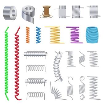 Conjunto de ícones de bobina, estilo cartoon