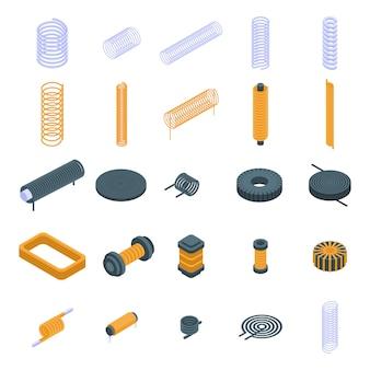 Conjunto de ícones de bobina, estilo isométrico