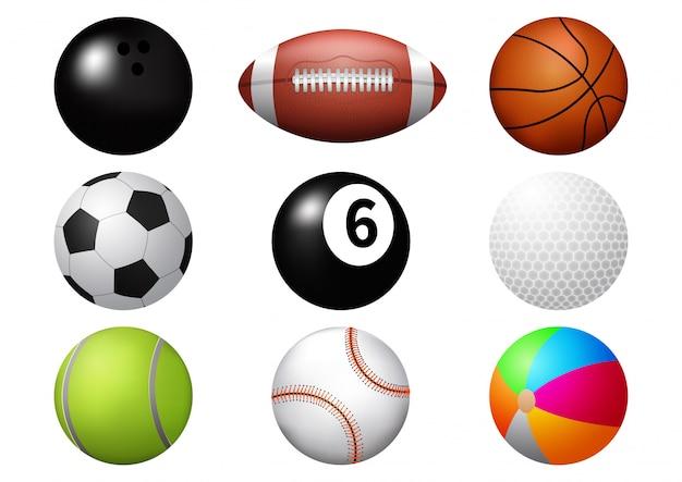 Conjunto de ícones de bola esporte.