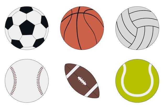 Conjunto de ícones de bolas esportivas futebol basquete vôlei beisebol futebol americano e tênis
