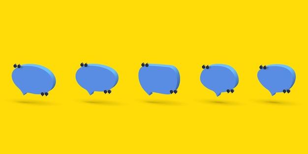 Conjunto de ícones de bolha de fala 3d