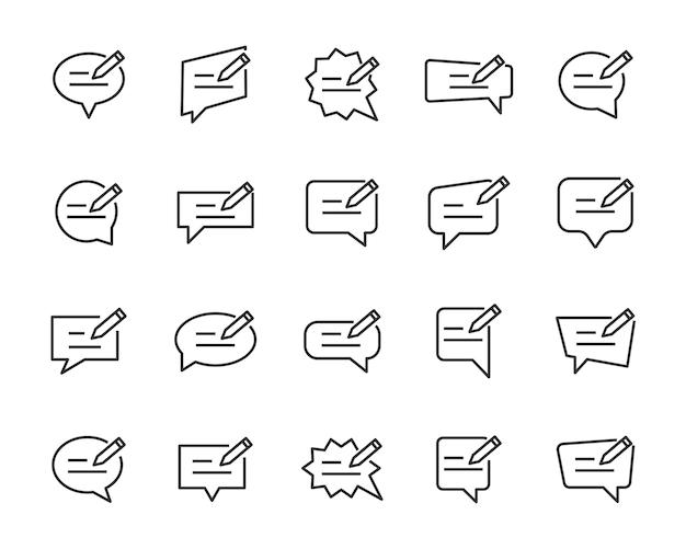 Conjunto de ícones de bolha do discurso, como conversar, conversar