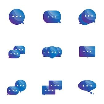 Conjunto de ícones de bolha do discurso