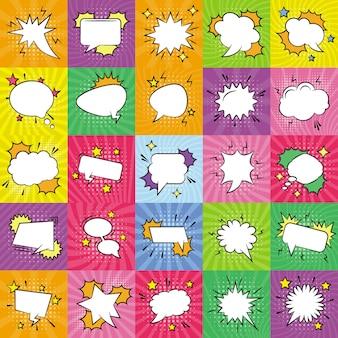 Conjunto de ícones de bolhas de discurso vazio