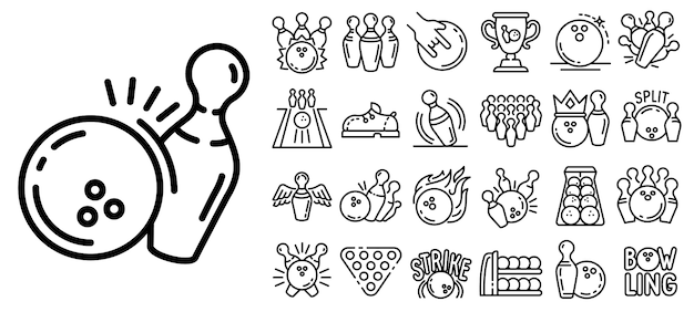 Conjunto de ícones de boliche, estilo de estrutura de tópicos