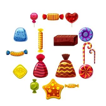 Conjunto de ícones de bolos de doces, estilo cartoon