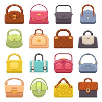 Conjunto de ícones de bolsas de moda mulher.