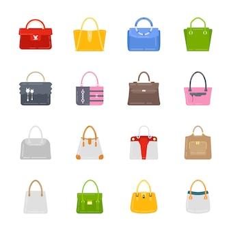 Conjunto de ícones de bolsas de senhoras