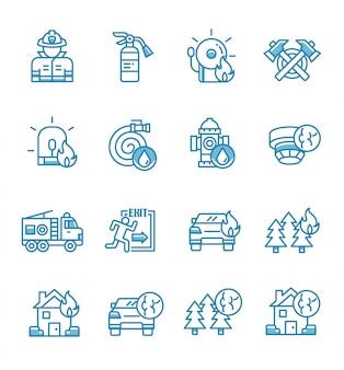 Conjunto de ícones de bombeiro com estilo de estrutura de tópicos.