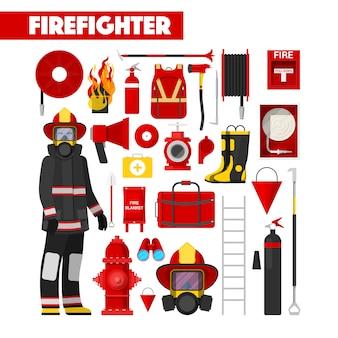 Conjunto de ícones de bombeiro de profissão com equipamento de bombeiros