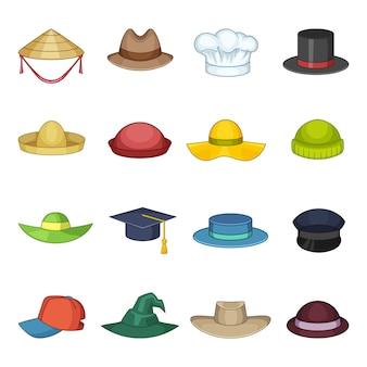 Conjunto de ícones de boné de chapéu