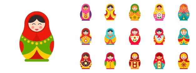 Conjunto de ícones de boneca de aninhamento