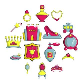 Conjunto de ícones de boneca princesa, estilo cartoon