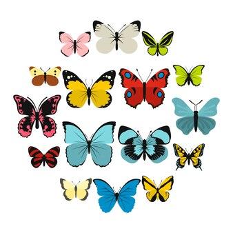 Conjunto de ícones de borboleta, estilo simples