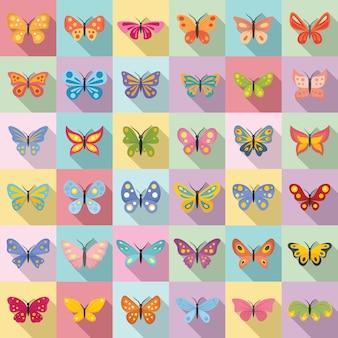 Conjunto de ícones de borboleta