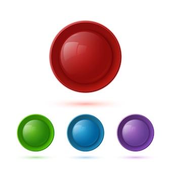 Conjunto de ícones de botão brilhante colorido