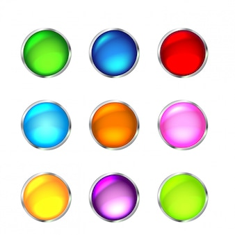 Conjunto de ícones de botão brilhante para design
