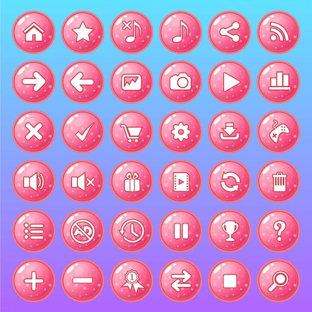 Conjunto de ícones de botão cor rosa estilo geléia brilhante.