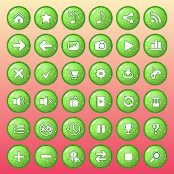 Conjunto de ícones de botão cor verde estilo geléia brilhante.