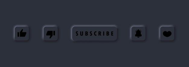 Conjunto de ícones de botão de inscrição. botões de sino e, como, polegar para cima e para baixo. botão se inscrever no canal, blog. conceito de mídia social. marketing. estilo de neumorfismo. vetor eps10. isolado no fundo.
