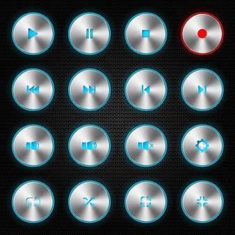 Conjunto de ícones de botão de jogador
