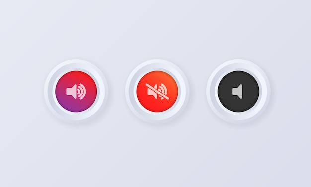 Conjunto de ícones de botão de volume de som. botão, sinal, emblema em estilo 3d. aumentar o volume do som