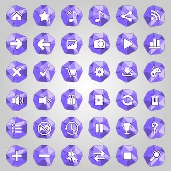Conjunto de ícones de botão polígono de estilo roxo de cor.