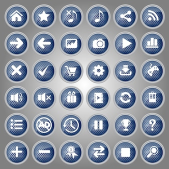 Conjunto de ícones de botões azuis estilo metal para web e jogo.