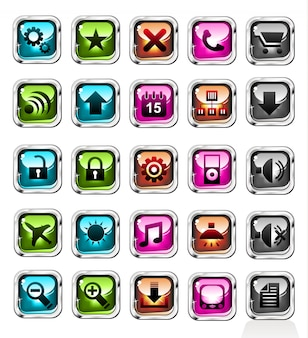 Conjunto de ícones de botões de compras na web