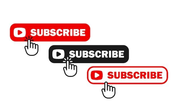 Conjunto de ícones de botões de inscrição. para usuários de mídia social. membro do canal. vetor eps 10. isolado no fundo branco.