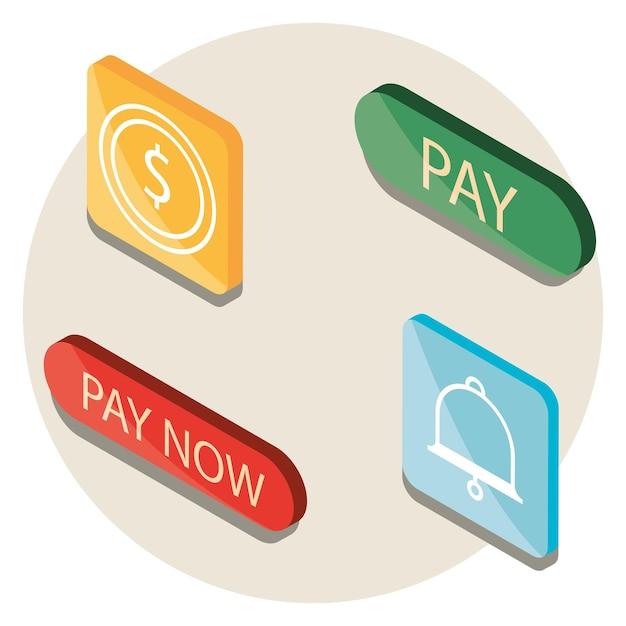 Conjunto de ícones de botões de pagamento online