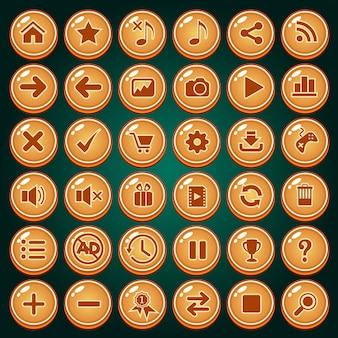 Conjunto de ícones de botões para o jogo.