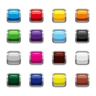 Conjunto de ícones de botões quadrados em branco, estilo cartoon