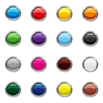 Conjunto de ícones de botões web redondos em branco, estilo cartoon