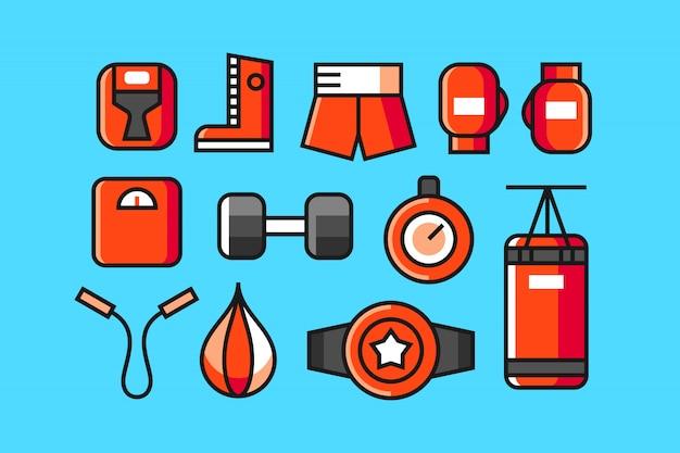 Conjunto de ícones de boxe