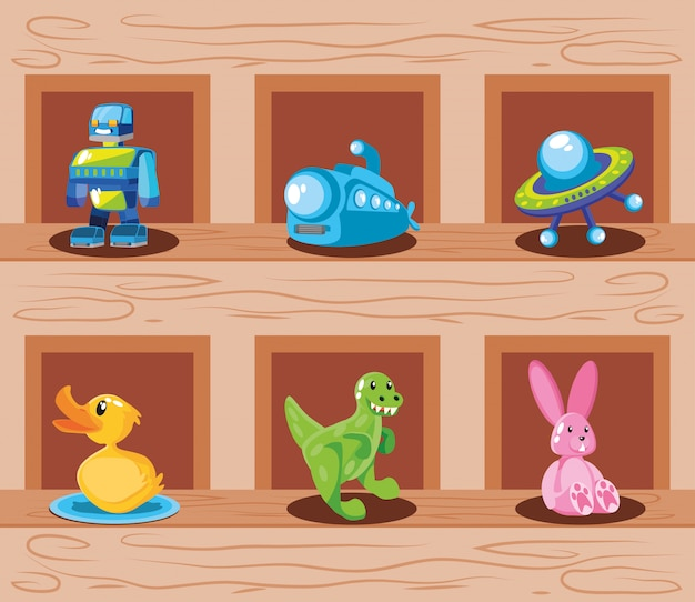 Conjunto de ícones de brinquedo infantil em superfície de madeira