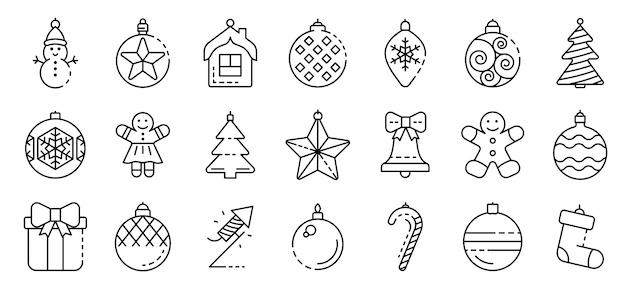 Conjunto de ícones de brinquedos de árvore de natal, estilo de estrutura de tópicos