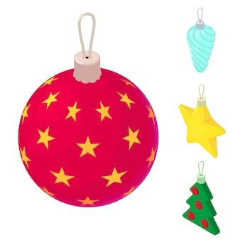 Conjunto de ícones de brinquedos de árvore de natal, estilo isométrico
