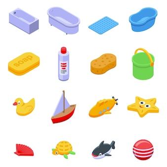 Conjunto de ícones de brinquedos de banho, estilo isométrico