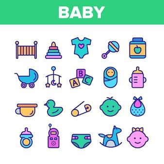 Conjunto de ícones de brinquedos e elementos de bebê coleção
